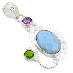 Natural blue owyhee opal purple amethyst 925 sterling silver pendant d24392