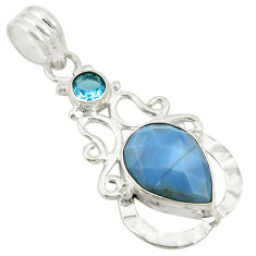 Natural blue owyhee opal topaz 925 sterling silver pendant jewelry d24394