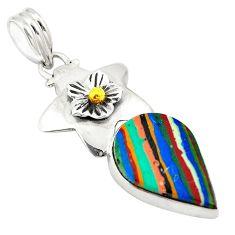 Natural multi color rainbow calsilica 925 sterling silver pendant d24412