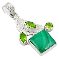 Clearance Sale- 925 silver natural green malachite (pilot's stone) pendant jewelry d24414