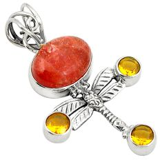 Natural orange sunstone (hematite feldspar) 925 silver dragonfly pendant d24431