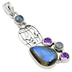 Natural blue labradorite amethyst 925 sterling silver cage pendant d24433