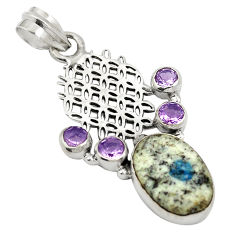 925 silver natural k2 blue (azurite in quartz) purple amethyst pendant d24440