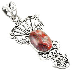 Clearance Sale- Natural mexican laguna lace agate 925 silver hand of god hamsa pendant d24453