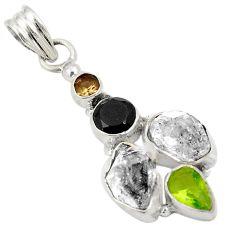 Natural white herkimer diamond smoky topaz peridot 925 silver pendant d24472