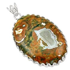 Natural multi color rainforest rhyolite jasper 925 silver pendant jewelry d24493
