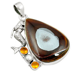 Natural brown tiger's hawks eye 925 silver fairy mermaid pendant d24501