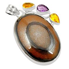 Natural brown tiger's hawks eye amethyst citrine 925 silver pendant d24505