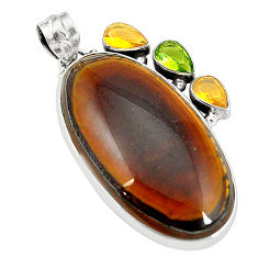 Natural brown tiger's hawks eye peridot 925 silver pendant jewelry d24508