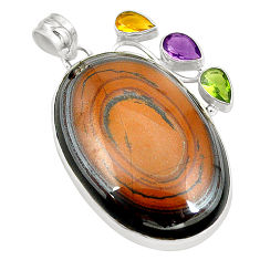 Clearance Sale- Natural brown tiger's hawks eye amethyst 925 silver pendant jewelry d24510