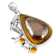 Natural brown tiger's hawks eye 925 silver fairy mermaid pendant d24518