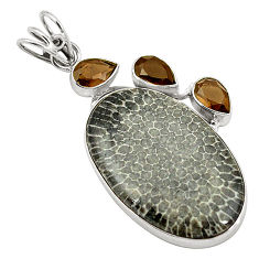 Clearance Sale- 925 silver natural black stingray coral from alaska pendant jewelry d24530