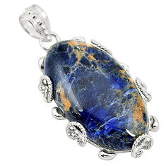 925 sterling silver natural orange sodalite oval pendant jewelry d24540