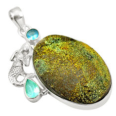 Titanium druzy blue topaz 925 sterling silver pendant jewelry d24546