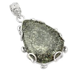 925 silver natural black stingray coral from alaska pendant jewelry d24559