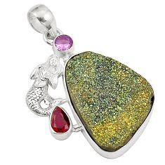 925 silver titanium druzy purple amethyst fairy mermaid pendant d24560