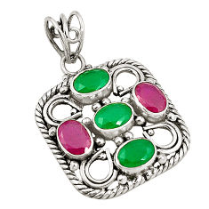 Green emerald red ruby quartz 925 sterling silver pendant d24562