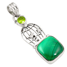 Clearance Sale- Natural green malachite (pilot's stone) 925 silver cage pendant jewelry d24564