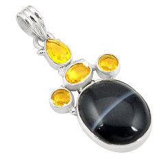925 sterling silver natural black botswana agate yellow citrine pendant d24565
