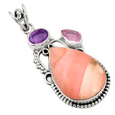 Clearance Sale- 925 sterling silver natural pink opal kunzite (lab) pendant jewelry d24569