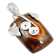 Natural brown tiger's hawks eye 925 sterling silver pendant jewelry d24571