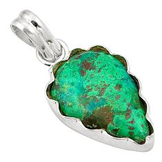 Natural green chrysocolla 925 sterling silver pendant jewelry d24591