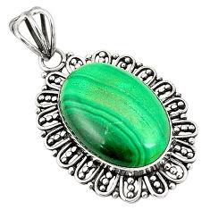 Natural green malachite (pilot's stone) 925 sterling silver pendant d24633