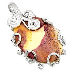 Clearance Sale- Natural brown mookaite oval 925 sterling silver pendant jewelry d24640