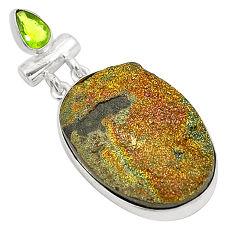 Clearance Sale- Titanium druzy peridot 925 sterling silver pendant jewelry d24641