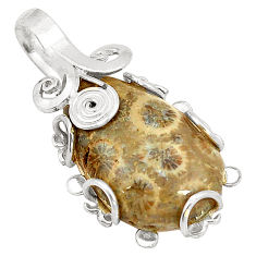 Natural brown fossil coral (agatized) petoskey stone 925 silver pendant d24647