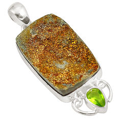 Titanium druzy green peridot 925 sterling silver pendant jewelry d24651