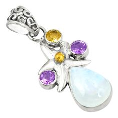 Clearance Sale- 925 sterling silver natural rainbow moonstone citrine pendant jewelry d24667