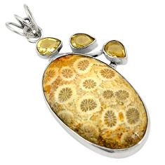 Natural brown fossil coral (agatized) petoskey stone 925 silver pendant d24690