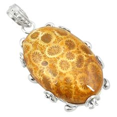 Natural yellow fossil coral (agatized) petoskey stone 925 silver pendant d24693