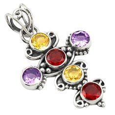 Natural red garnet amethyst round 925 sterling silver pendant jewelry d24745