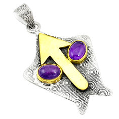 Natural purple amethyst 925 sterling silver pendant jewelry d25739