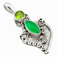 Clearance Sale- Natural green chalcedony peridot 925 sterling silver pendant d25741