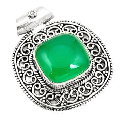 Natural green chalcedony 925 sterling silver pendant jewelry d25742