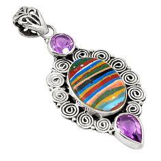 Natural multi color rainbow calsilica amethyst 925 silver pendant d25745