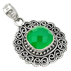 Natural green chalcedony 925 sterling silver pendant jewelry d25763
