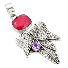 Clearance Sale- Natural red ruby amethyst 925 sterling silver pendant jewelry d25913