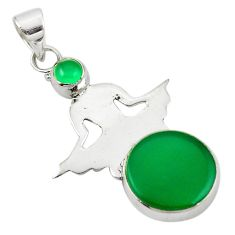 Natural green chalcedony 925 sterling silver pendant jewelry d25920
