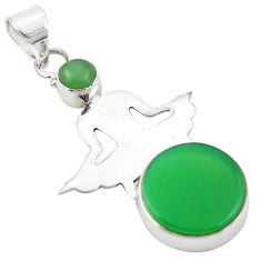 Clearance Sale- Natural green chalcedony 925 sterling silver pendant jewelry d25927