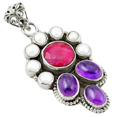 Natural red ruby amethyst 925 sterling silver pendant jewelry d25949