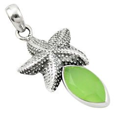 Natural green prehnite 925 sterling silver star fish pendant d25972