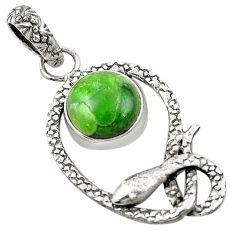 Natural green chrome diopside 925 sterling silver snake pendant d25976