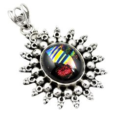 925 sterling silver multi color dichroic glass pendant jewelry d26156