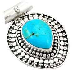 Blue arizona mohave turquoise 925 sterling silver pendant jewelry d26232