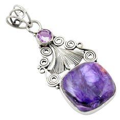Natural purple charoite (siberian) amethyst 925 silver pendant d26262
