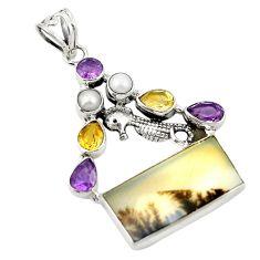 925 silver natural scenic russian dendritic agate pendant jewelry d26265
